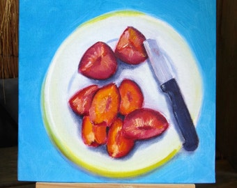 Daily Painting 10 - Plums in pieces - free shipping