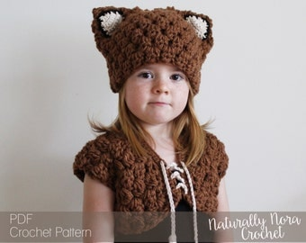 Crochet Pattern: Scout the Fox Hat and Vest Set-Toddler, Child Small and Child Large Sizes - fox, dress-up, costume, hat, feather, cowl