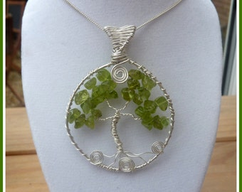 Handmade Peridot Tree of Life, in Sterling Silver, with chain, August birthstone
