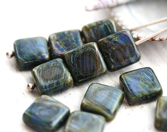 Mixed dark Blue Picasso beads, czech glass, square beads - 8mm - 15Pc - 1704
