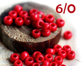 TOHO Seed beads, size 6/0, Opaque Pepper Red, N 45, round, red japanese beads - 10g - S347