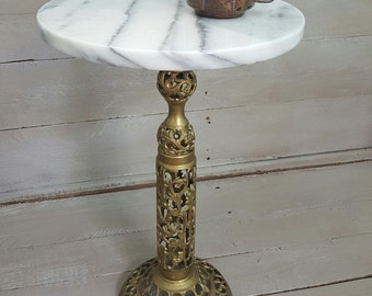 Vintage 60's Marble Brass Base Table Plant Stand