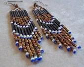Long metallic bronze seed bead fringe earrings, statement earrings, bold earrings, boho earrings, fringe earrings, colorful earrings brown