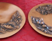 PAIR Mid Century Albert Gilles Floral Repousse Large and Heavy Copper Wall Plates