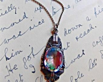 Art Deco 1930's Iris Glass & Marcasite Necklace