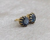 Sapphire Blue Earrings ... dark blue earrings,  blue studs, small earrings
