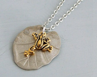 Frog and Lily Pad Necklace .. silver necklace, lily pendant, frog charm, mixed metal necklace, wildlife jewellery,