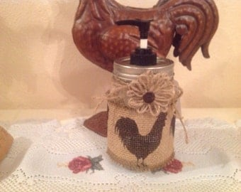 Rooster on Burlap Lotion Dispenser Rooster Housewarming Gift Country Decor Rooster Lover Home Decor Handmade  Rooster Kitchen  Country Home