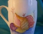 Hand Painted Kiln Fired Art Sea Shells Mug