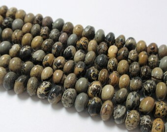 "Picture Jasper Rondelle Beads, 6mm Picture Jasper Natural Gemstone Beads, 9"" Strand - 54 Beads"