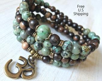 108 Mala, African Turquoise, Om Mala,  wrap Bracelet or Necklace, Buddhist Rosary, Om Yoga, Yoga wrap,  prayer beads, Reiki Charged