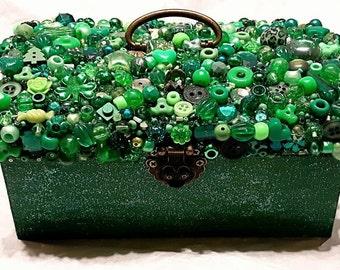Emerald Green Bejeweled Treasure Keepsake Box.