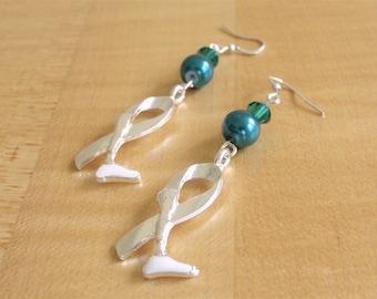 Teal Green Amputee Awareness Earrings - Prosthetic Limb Awareness