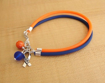 Orange and Blue Awareness Bracelet (Rubber) - Batten Disease, Pediatric Bipolar