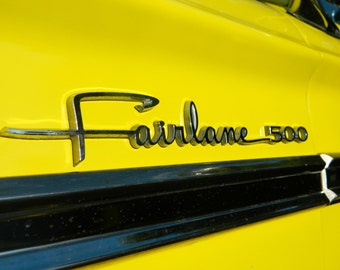1964 Yellow Ford Fairlane, Photography, Automotive Photo, Ford Photography, Vintage Car Photo, Ford Fairlane Photo, Vintage Fairlane, Auto
