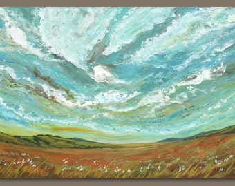 large abstract painting, landscape painting, prairie painting, big sky painting, impressionist, semi abstract fields, art on canvas (24x36)