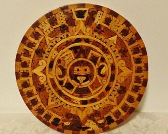 Vintage Wood Mosaic Trivet Wall Hanging Tribal Hawaiin Tiki Aztec Design Unique Wooden Trivet