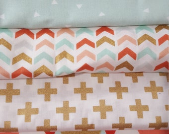 Nursing Pillow Cover -Mint Triangels, Coral Mint Gold Broken Arrows, Gold Plus Signs, or Coral Mint Gold Geo Angles with Minky Boppy Cover