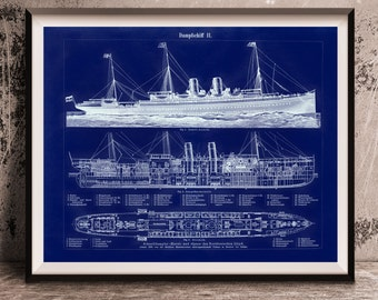 Steamship Boats Nautical Blueprint Schematic Oversized Antique Repro Print 16x20 to 24x30 Late 1800s Repro