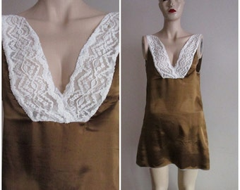 Brown Nightgown Slip With Ivory Lace Trim, Cream Lingerie,  Slip Nightgown Lace Nightie, Lace Lingerie, Nightie Lace Nightgown, Size Small