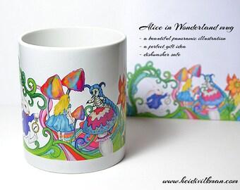 Alice in Wonderland - Illustrated Mug - Panoramic Image - Beautiful gift idea
