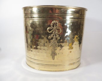 Vintage Brass Waste Basket Can - Hammered Brass Trash Can