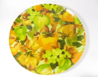 Retro Fiberglass Fruit Round Tray - Orange Yellow Green Fruit Fiberglass Serving Tray