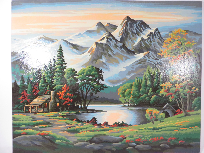 Vintage Paint By Number Mountain Cabin Landscape Scene Retro