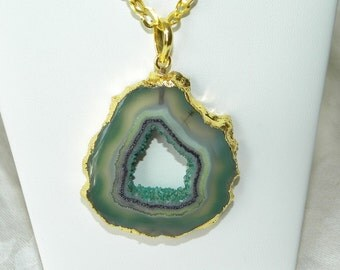 Druzy Necklace Handmade Aqua Purple Green Druzy Pendant 24 Inch Gold Tone Chain Gemstone Pendant Take 20% Off Open Druzy Jewelry Necklace