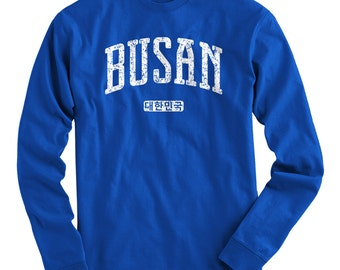 LS Busan Korea Tee - Long Sleeve T-shirt - Men and Kids - S M L XL 2x 3x 4x - Busan Shirt, South Korea, ROK, Korean - 4 Colors