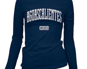 Women's Aguascalientes Mexico Long Sleeve Tee - S M L XL 2x - Ladies' Aguascalientes T-shirt, Mexican - 4 Colors