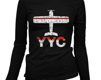 Women's Fly Calgary Long Sleeve Tee - YYC Airport - S M L XL 2x - Ladies' Calgary T-shirt, Alberta, Canada - 2 Colors