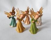 miniature angel figurines, 5 mini angels, vintage angels, 1950s, Christmas decor, angel decor