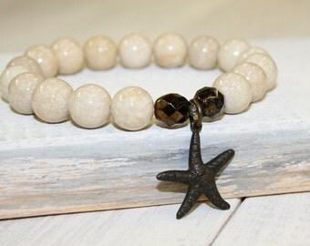 Starfish Bracelet, Cream Stretch Bracelet, Riverstone beads, 10mm, Cream stone bracelet, Cream stacking bracelet, Gemstone Bracelet