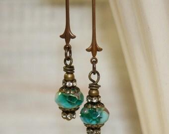 Turquoise Earrings, Picasso bead earrings, Long dangle earrings