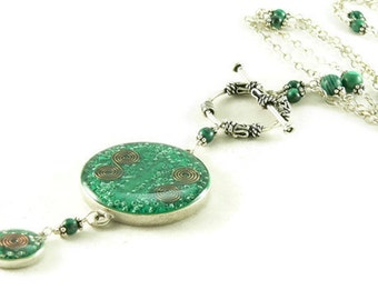 Orgone Energy Necklace - Nia Necklace - Celebrity Jewelry - Custom Necklace - Malachite Gemstone - Sterling Silver - Long Necklace - BOHO