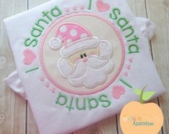 I Love Santa Circle Machine Embroidery Applique Design