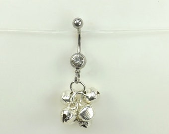 Dangle Belly Ring navel ring with bells (10mm) belly button jewelry body jewelry navel ring curved barbell