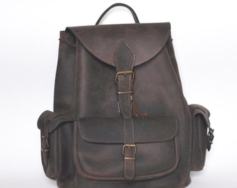 Large distressed leather backpack / Women/Men leather backpack / Chocolate brown backpack
