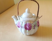Vintage Tea Pot Handpainted Floral with Gold Accents and Bamboo Handle