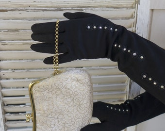 Vintage Black Gloves with rhinestone and pearl accents