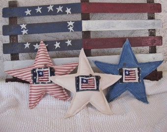 Star Pillows Set of 3 Americana Patriotic Red White Blue Denim and Ticking Stuffed Flag Applique Buttons Home Decor Veterans