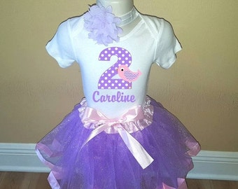 ON SALE Birthday Purple Pink Bird Personalized Shirt Tutu Headband Set - ANY Age