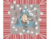 Christmas Card - RUDOLPH - festive alternative reindeer painted illustrated greeting card