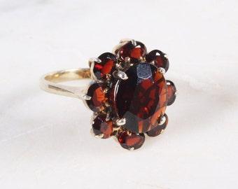 Vintage Gold Garnet Cluster Ring / Vermeil Sterling Silver Ring / Size 8