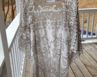 Vintage Lace dress Two tone lace with cut out open bell sleeves-Amazing!