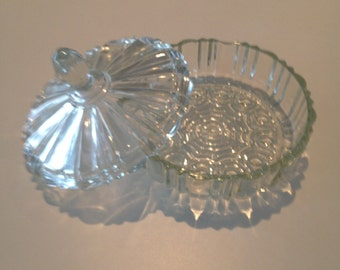 Vintage Glass Candy Dish with Cover 1940s