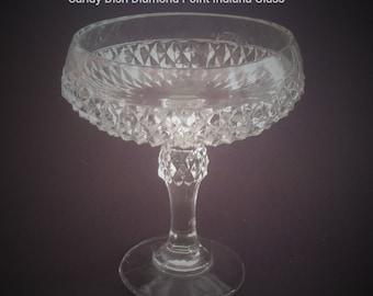 Candy Dish Compote Diamond Point Bowl Pattern Indiana Glass Vintage