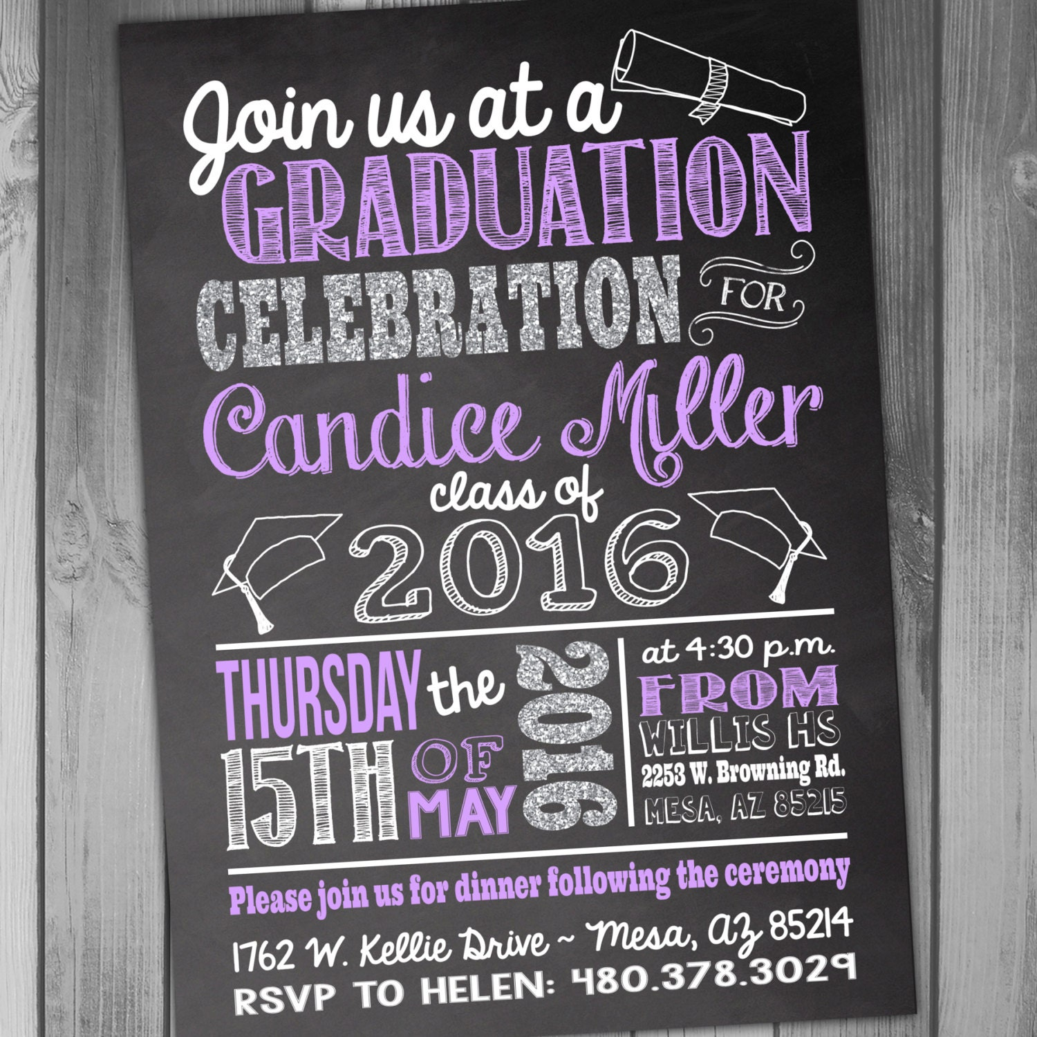 College graduation party invitations gangcraft chalkboard grad etsy party invitations filmwisefo Image collections