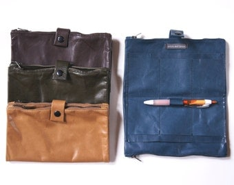 Large Double Zip Wallet Soft Leather Earth Tones
